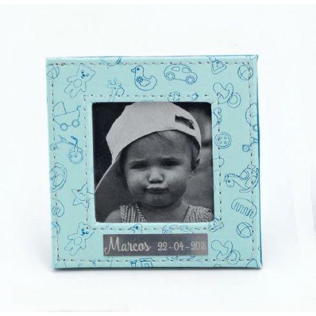 Portafotos piel dibujos bebé azul