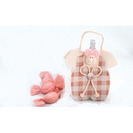 """Bolsita forma """"Vestidito"""" con pinza bebé rosa y caramelos"""