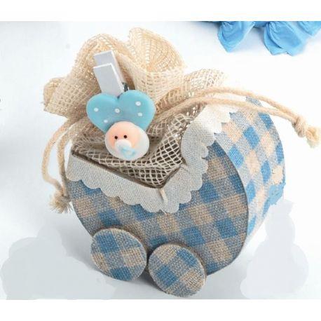 """Bolsitas forma """"Carrito"""" con pinza bebé azul y caramelos"""