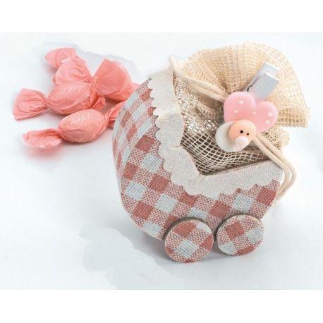"""Bolsitas forma """"Carrito"""" con pinza bebé rosa y caramelos"""