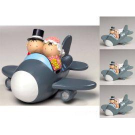 Pack de 12 Imanes Boda novios en avión y figura/hucha para tarta a juego