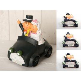 Pack de 12 Imanes Boda novios en coche y figura/hucha para tarta a juego