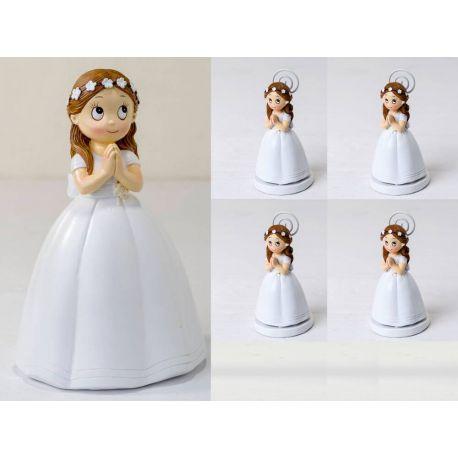 Pack 6 portafoto niña Comunión rezando y 1 Figura tarta a juego