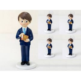 Pack 6 portafoto niño Comunión traje chaqueta y 1 Figura tarta a juego