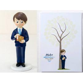 Pack de figura para tarta Comunión y lámina árbol dedicatorias a juego