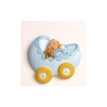 Imán-anilla Bebe en carrito azul