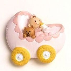 Imán-anilla Bebe en carrito rosa
