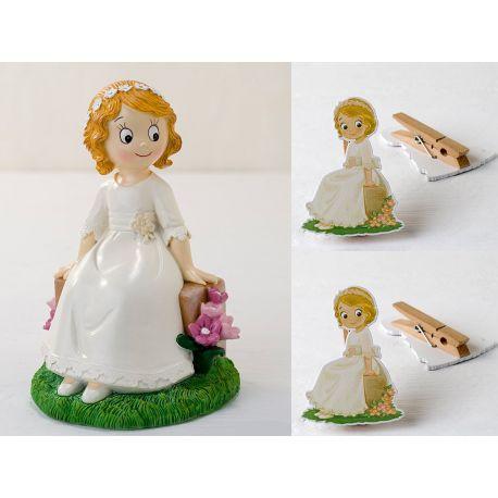Pack 48 pinzas decoradas niña comunión y figura de tarta a juego