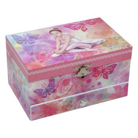 Caja Joyero musical de bailarina con cajón, forma rectangular, color rosa