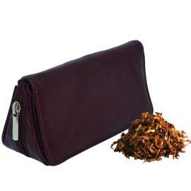 Bolsa para 2 pipas y accesorios en piel - Color marrón