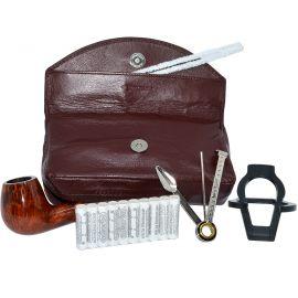 Set iniciación a fumar en pipa con bolsa de tabaco piel