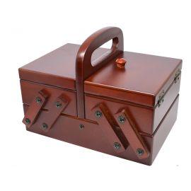 """Costurero madera """"Nogal"""" con 3 compartimentos y 2 almohadillas"""