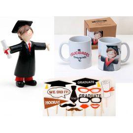 Pack Graduación *Graduado* con figura, taza y photocall