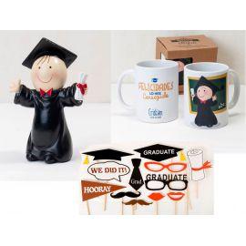 Pack Graduación *Graduado Happy* con figura, taza y photocall