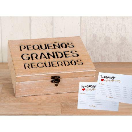 Pack Boda con cofre madera y 25 tarjetas para mensajes a los novi@s