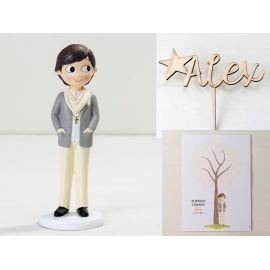 Figura Tarta comunión, Adorno de Madera con el Nombre del niño y lámina para firmas y dedicatorias - Niño comunión con pañuelo