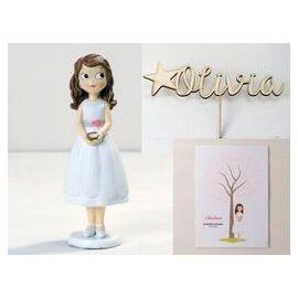 Figura tarta comunión, adorno de madera con el nombre de la niña y lámina para firmas y dedicatorias - Niña comunión con biblia