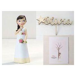 Figura tarta comunión, adorno de madera con el nombre de la niña y lámina para firmas y dedicatorias - Niña comunión romántica