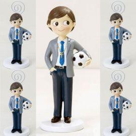 Pack 6 portafotos y figura tarta de comunión a juego, Niño con balón