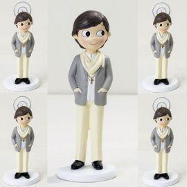 Pack 6 portafotos y figura tarta de comunión a juego, Niño con pañuelo