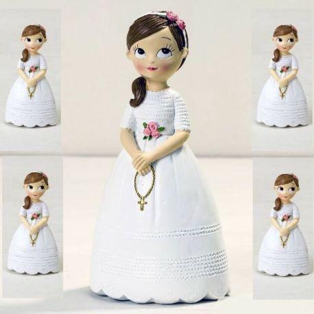 Pack 12 imanes y figura tarta de comunión a juego, Niña con rosario
