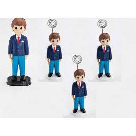 12 portafotos y Figura Tarta de comunión a Juego, Niño con Libro y Traje Azul - Pack Ideal para comunión
