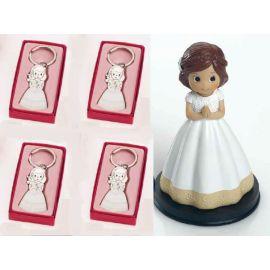 12 llaveros niña comunión Vestido Blanco y Figura de Tarta - Pack Ideal comunión
