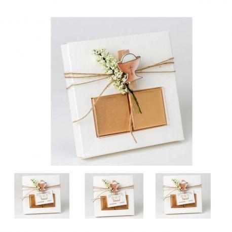 Pack 10 Estuches de comunión con 2 Chocolates, Original Pinza cáliz y Adorno de Flor - Regalo Ideal para comunión