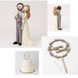 Pack especial bodas - Bonita y cariñosa figura tarta novios y cake tupper madera *Corona* con nombre de los novios