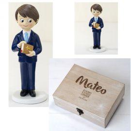 Pack Comunión *Mis Mejores Recuerdos* - Original Cofre Madera con nombre y fecha. Bonita figura niño de comunión con traje