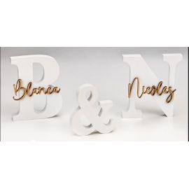 Set Iniciales Madera lacada Blanca con Nombres en Madera Personalizados - Regalo Ideal para Bodas