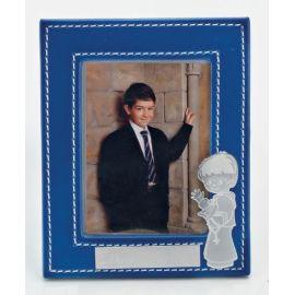 Portafotos comunión piel personalizado con nombre y fecha