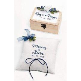 Pack Especial Bodas Bordado Personalizado - Conjunto de Caja de Madera para Arras y cojín para alianzas *Blue*
