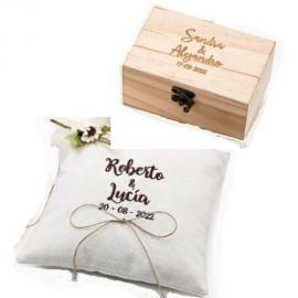 Pack Especial Bodas Personalizado - Conjunto de Caja de Madera para Arras y cojín para alianzas *Rustic Brown*