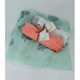 Pack 12 foulards *Árbol de la Vida* con Tarjeta/Libro Personalizada y Cinta en Rafia Papel - Regalo Ideal para Eventos