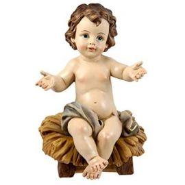 Figura Niño Jesús Sentado en Cuna - 23cm - Resina alta calidad pintada a mano