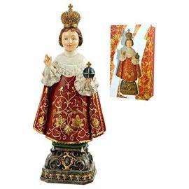 Figura Niño Jesús de Praga con peana - 30cm - Resina alta calidad pintada a mano