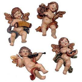Juego 4 ángeles de Colgar *Musicales* - Resina alta calidad pintada a mano - 16cm.
