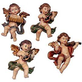 Juego 4 ángeles de Colgar *Musicales* - Resina alta calidad pintada a mano - 12cm.