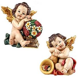 Juego 2 ángeles de sobremesa *Shofar/Flowers* - Resina alta calidad pintada a mano - 14cm.