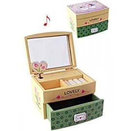 Caja Joyero Madera con música y cajón *Lovely*
