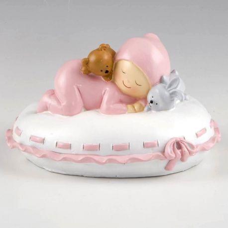 Hucha bebé almohada rosa