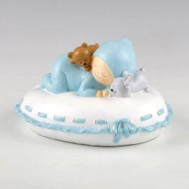 Hucha bebé almohada azul